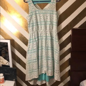Mint green and lace high low dress